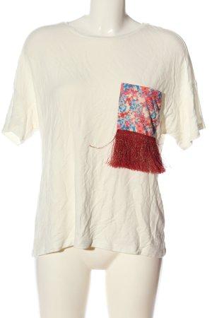 Janina Kurzarm-Bluse weiß-rot Blumenmuster Casual-Look