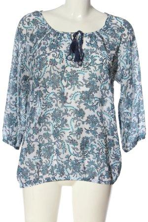 Janina Langarm-Bluse blau-weiß abstraktes Muster Casual-Look