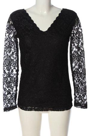 Janina Langarm-Bluse schwarz abstraktes Muster Casual-Look