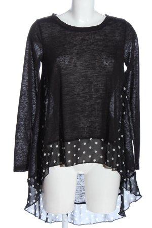 Janina Langarm-Bluse schwarz-weiß Punktemuster Casual-Look