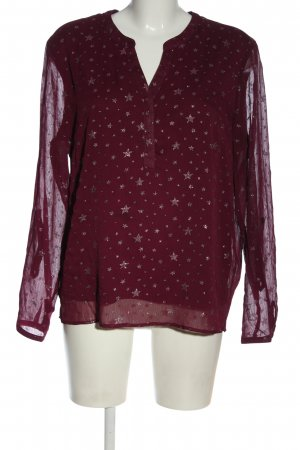 Janina Langarm-Bluse rot-goldfarben Allover-Druck Casual-Look