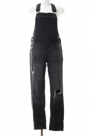 Janina Bib Denim anthracite distressed style