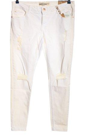 Janina Pantalon cigarette blanc-blanc cassé style décontracté