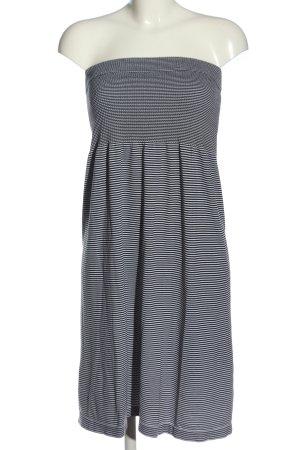 Janina schulterfreies Kleid weiß-schwarz Streifenmuster Casual-Look