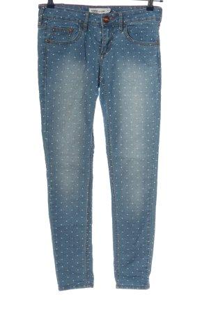 Janina Skinny Jeans blau-wollweiß Allover-Druck Casual-Look