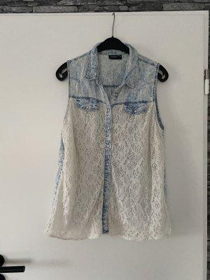 Janina Blouse en jean bleu azur-blanc coton