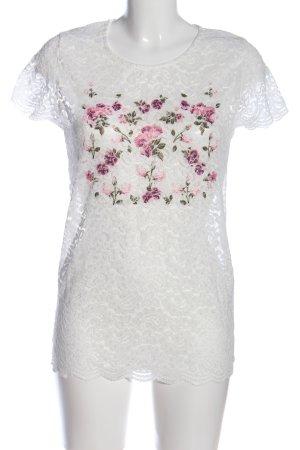 Janina Spitzenbluse weiß-pink Blumenmuster Casual-Look