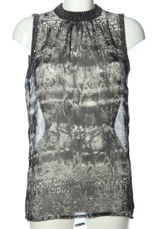 Janina Transparante blouse lichtgrijs-wolwit dierenprint elegant