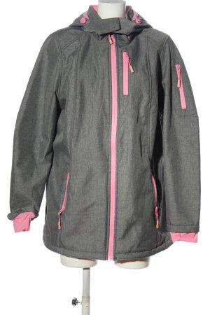 Janina Übergangsjacke hellgrau-pink Webmuster Casual-Look