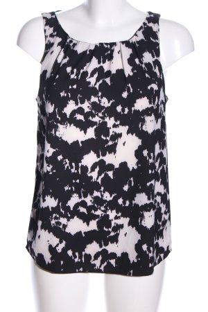 Jaqueline de Yong ärmellose Bluse schwarz-wollweiß abstraktes Muster