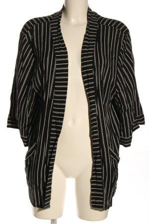Jaqueline de Yong Kimono zwart-wolwit gestreept patroon casual uitstraling