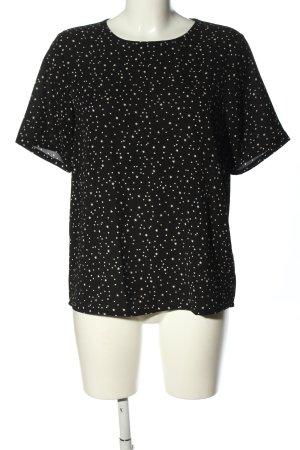Jaqueline de Yong Kurzarm-Bluse schwarz-weiß Allover-Druck Casual-Look