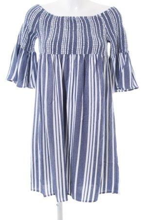 Jaqueline de Yong schulterfreies Kleid blau-weiß Streifenmuster Casual-Look