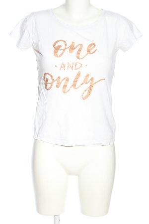 Jaqueline de Yong T-Shirt weiß-bronzefarben Motivdruck Casual-Look