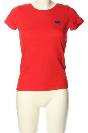 Jaqueline de Yong T-shirt rosso-blu Stampa a tema stile casual