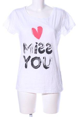 Jaqueline de Yong T-Shirt weiß Schriftzug gedruckt Casual-Look
