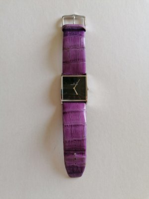 Jaques Lemans Zegarek ze skórzanym paskiem szaro-fioletowy