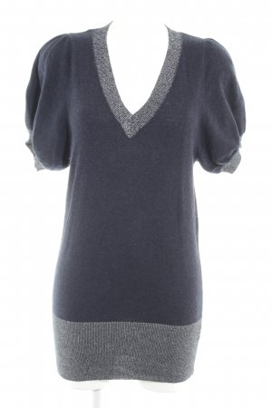 Jasper Conran V-Ausschnitt-Pullover dunkelblau-silberfarben