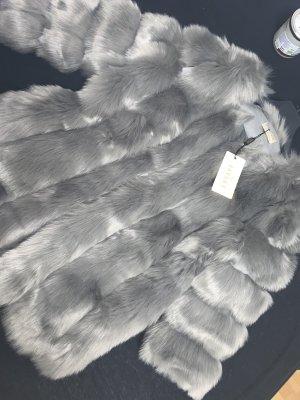 Jayley Chaqueta de piel sintética gris piel artificial
