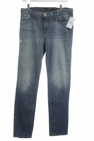 JBRAND Straight-Leg Jeans weiß-stahlblau meliert Casual-Look