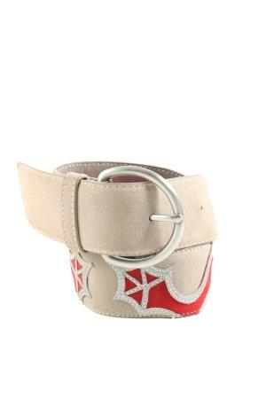 JC Cinturón de cadera crema-rojo estampado temático elegante