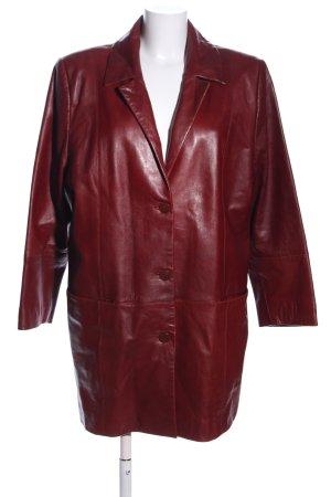 JCC Abrigo de cuero rojo elegante