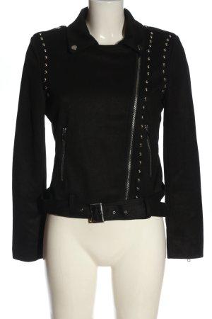 JCL Biker Jacket black flecked casual look