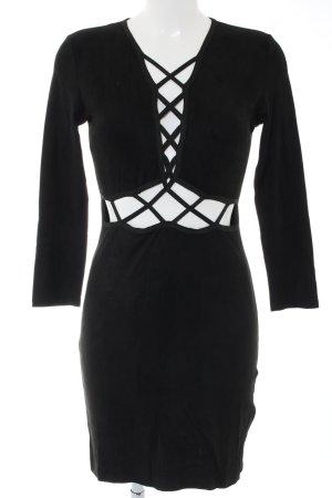 JCL Langarmkleid schwarz extravaganter Stil
