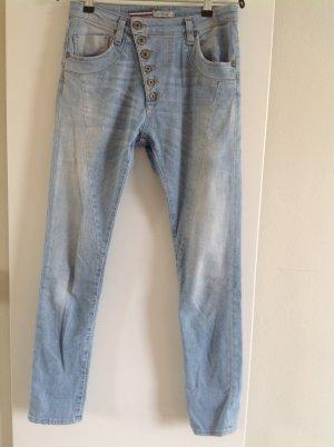 Jeans boyfriend bleu azur coton