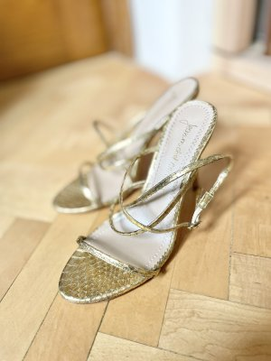 Jean-Michel Cazabat Croco gold sexy High Heels Edel Luxus Leder Sandaletten 38 NEU