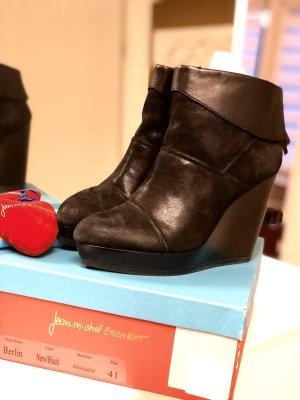 Jean-Michel Cazabat Wedge Booties black leather