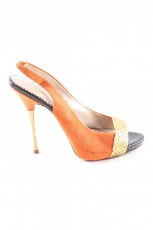 Jean-Michel Cazabat High Heels hellorange-goldfarben Animalmuster Casual-Look