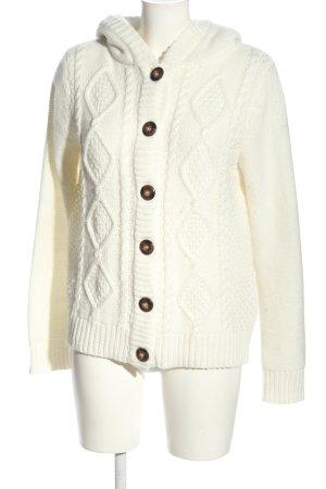 Jean Pascale Kardigan w kolorze białej wełny Warkoczowy wzór W stylu casual