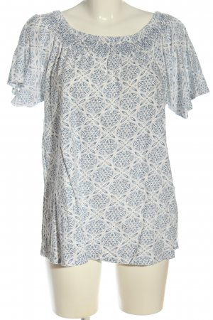 Jean Pascale Carmen-Bluse weiß-blau grafisches Muster Casual-Look