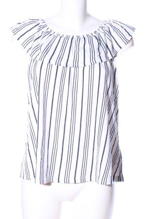 Jean Pascale Carmenshirt weiß-blau Streifenmuster Casual-Look