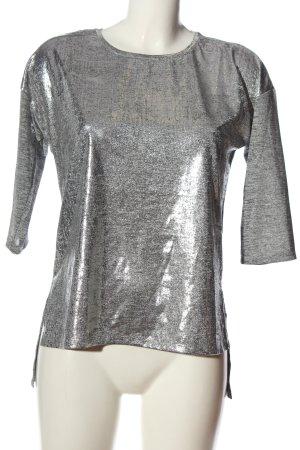 Jean Pascale Blusa brillante grigio chiaro puntinato elegante