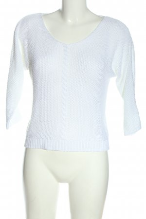 Jean Pascale Crochet Sweater white cable stitch casual look