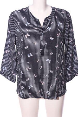 Jean Pascale Hemd-Bluse schwarz-weiß Allover-Druck Casual-Look