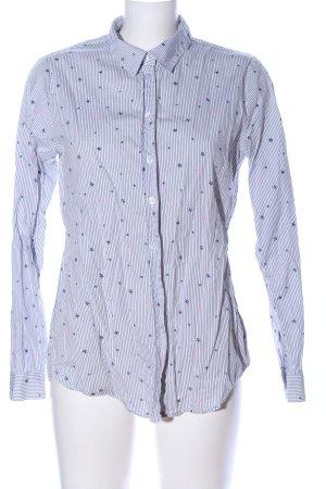 Jean Pascale Koszula z długim rękawem biały-jasnoszary Na całej powierzchni
