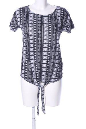 Lang shirt zwart-wit volledige print casual uitstraling