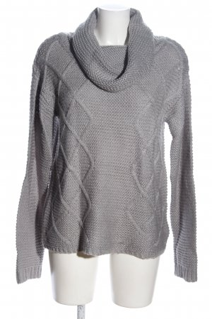 Jean Pascale Oversized Sweater light grey cable stitch business style