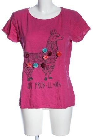 Jean Pascale Print-Shirt pink-schwarz Motivdruck Casual-Look