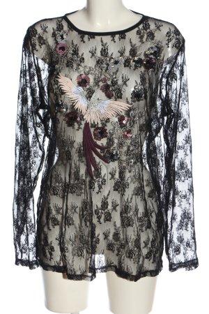 Jean Pascale Koronkowa bluzka czarny Nadruk z motywem W stylu casual