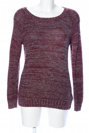 Jean Pascale Strickpullover rot-hellgrau meliert Casual-Look