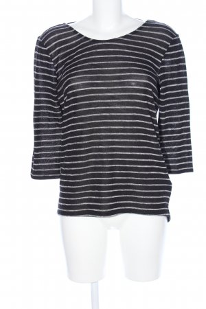 Jean Pascale Knitted Sweater black-light grey striped pattern casual look