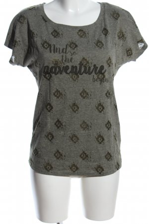 Jean Pascale T-Shirt khaki grafisches Muster Casual-Look