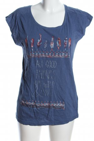 Jean Pascale T-Shirt blau Motivdruck Casual-Look