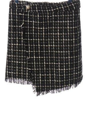 Jean Pascale Tweed rok wit-zwart geruite print casual uitstraling