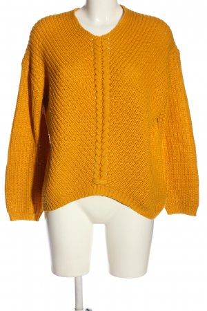 Jean Pascale Cable Sweater light orange cable stitch casual look