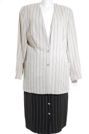 Jean Paul Business-Anzug creme-schwarz Streifenmuster Perlmuttknöpfe